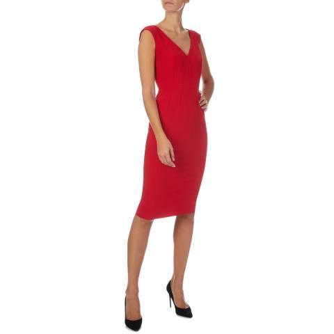 Amanda Wakeley Red Tailored Shift Crepe Dress