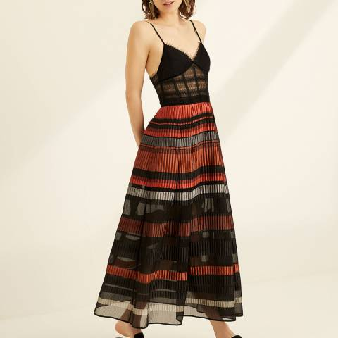 Amanda Wakeley Red/Black Lace Top Jacquard Dress