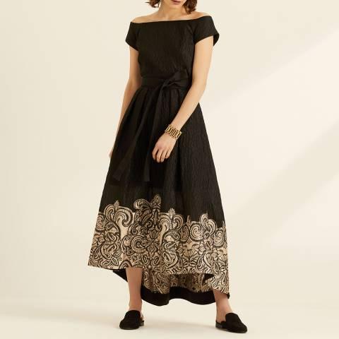 Amanda Wakeley Black Off Shoulder Cloque Dress