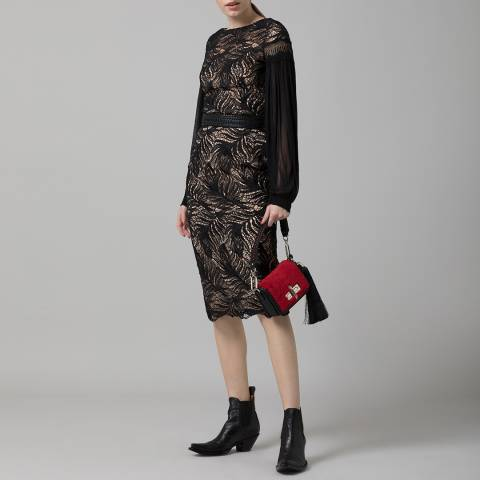 Amanda Wakeley Black Paisley Midi Dress