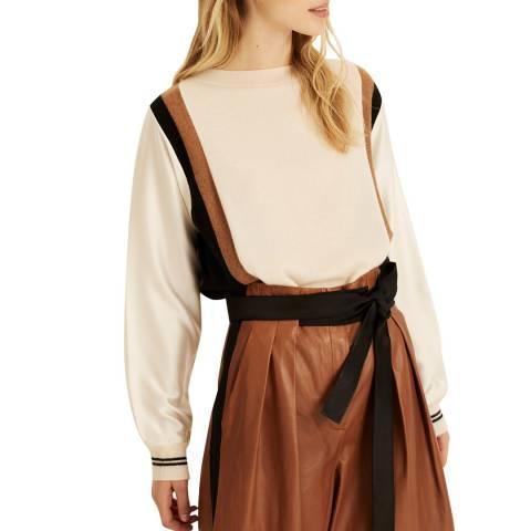 Amanda Wakeley White Colour Block Cashmere Knit