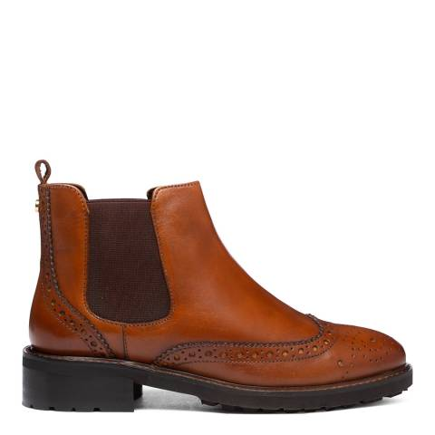 Dune London Tan Leather Quarta Brogue Chelsea Boots