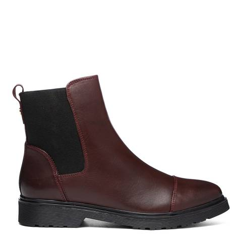 Dune London Burgundy Leather Paysan Chelsea Boots