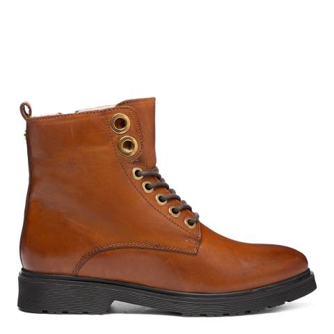 Dune London Tan Leather Parkland Faux Shearling Lined Ankle Boots
