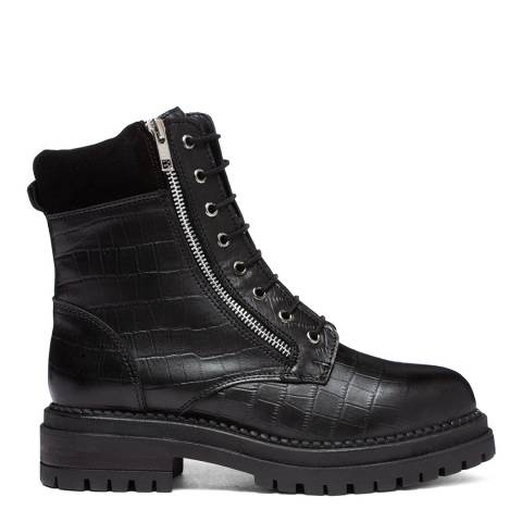 Dune London Black Croc Rebel Ankle Boots