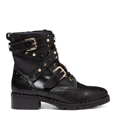 Dune London Black Rogan Leather Buckle Ankle Boots