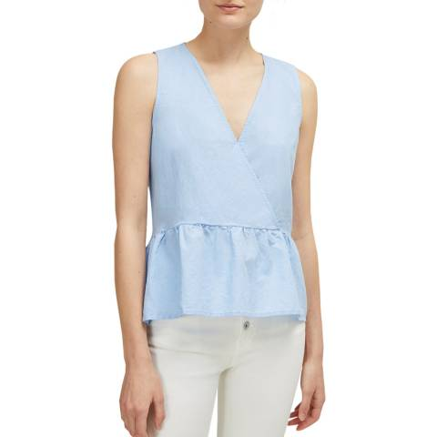 Great Plains Blue Safi Linen Peplum Top