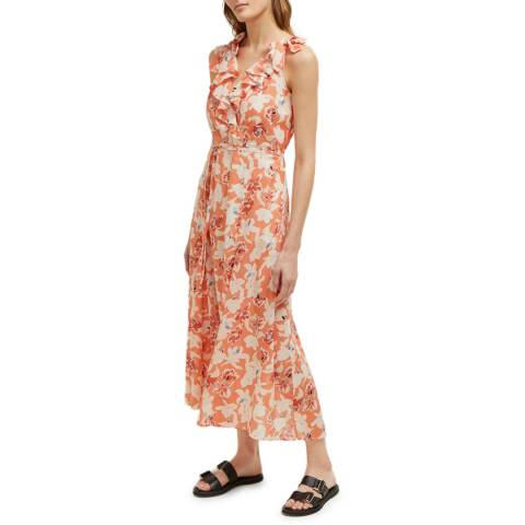 Great Plains Orange Tulum Floral Maxi Dress