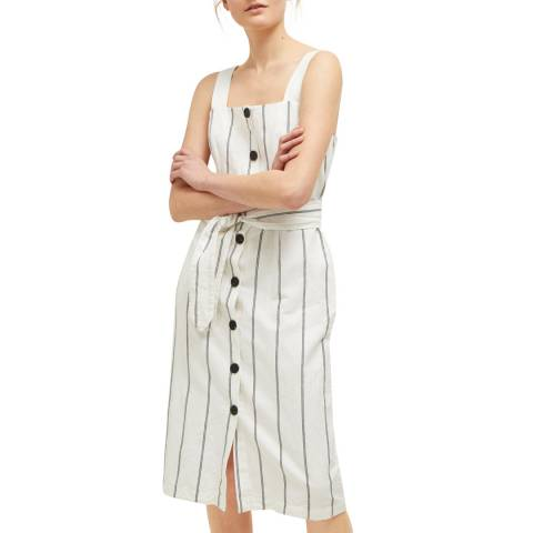 Great Plains Milk Santa Striped Button Dress