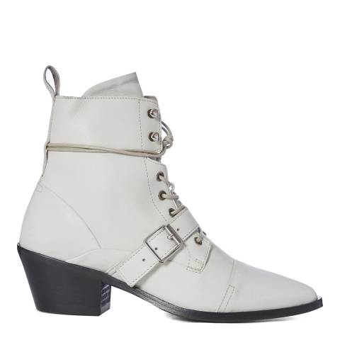 AllSaints White Leather Katy Ankle Boots