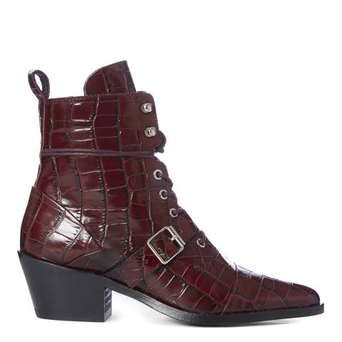 AllSaints Red Leather Katy Croc Print Ankle Boots