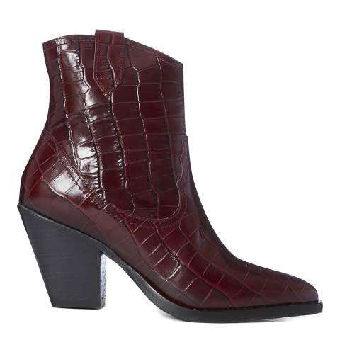 AllSaints Shiny Croc Red Rolene Ankle Boots