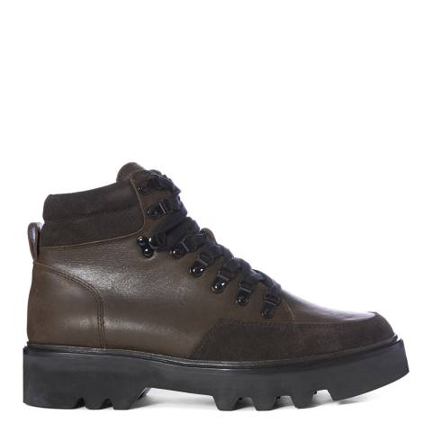 AllSaints Brown Leather Lodge Hiking Boots