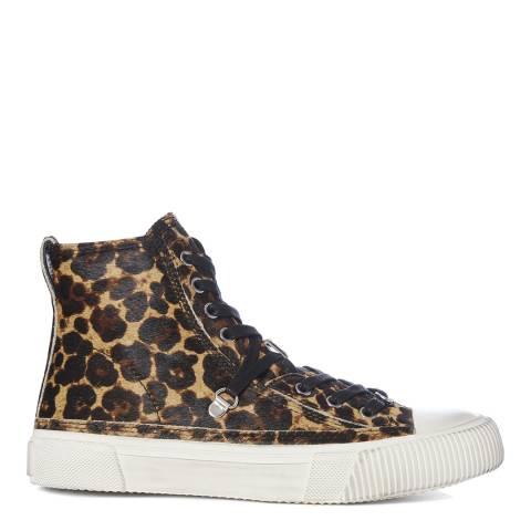 AllSaints Leopard Calf Hair Elena High Top Sneakers