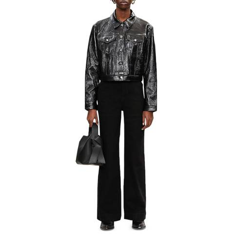 J Brand Black Cyra Cropped Leather Jacket