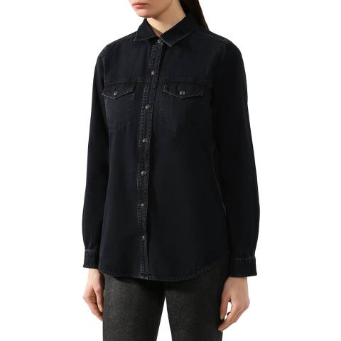 J Brand Black Perfect Cotton Stretch Denim Shirt