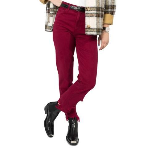 J Brand Dark Red Jules Straight Stretch Jeans