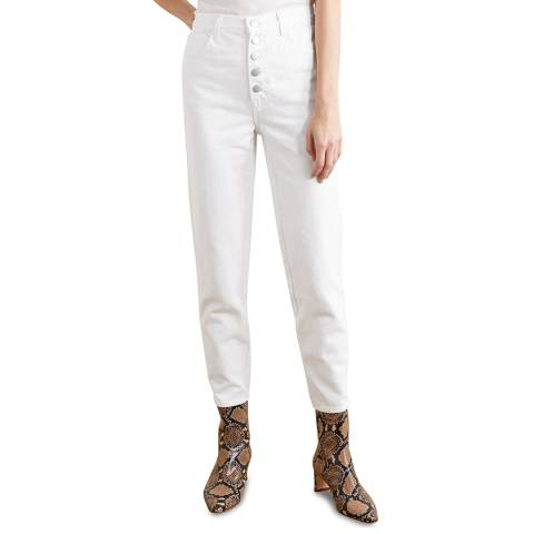 J Brand White Heather Button Tapered Jeans