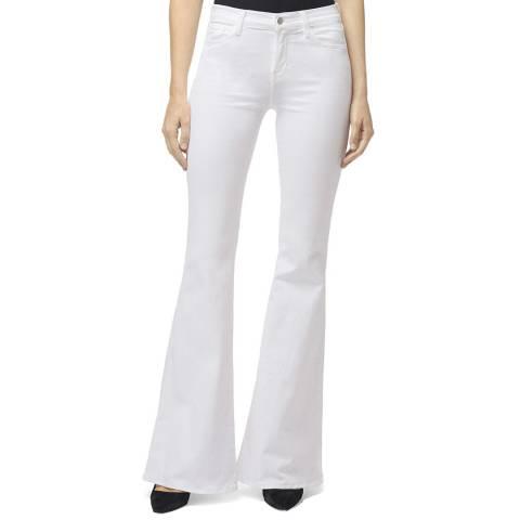 J Brand White Valentina Flared Stretch Jeans