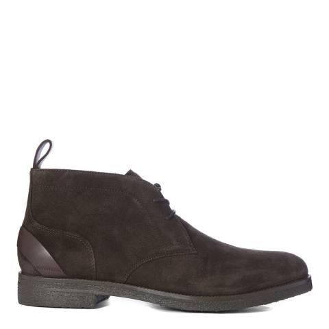 Reiss Dark Brown Reeves Crepe Sole Suede Chukka Boots