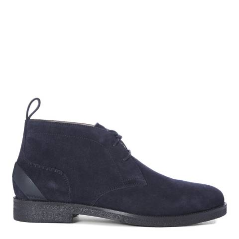 Reiss Navy Reeves Crepe Sole Suede Chukka Boots