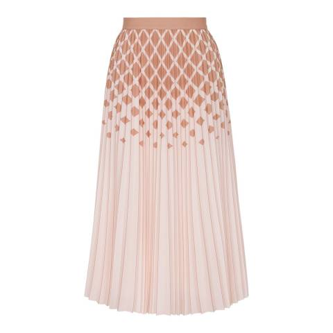 Reiss Peach Elsa Diamond Ombre Skirt
