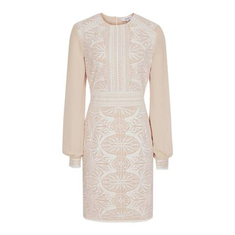 Reiss Beige Aria Lace Dress