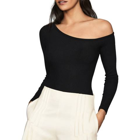 Reiss Black Jessie Asymmetric Bodysuit