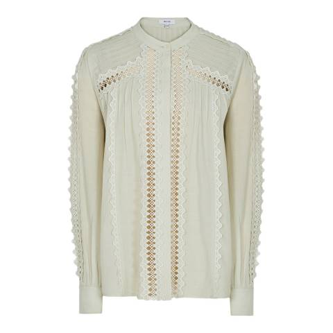 Reiss Green Chantal Broderie Top