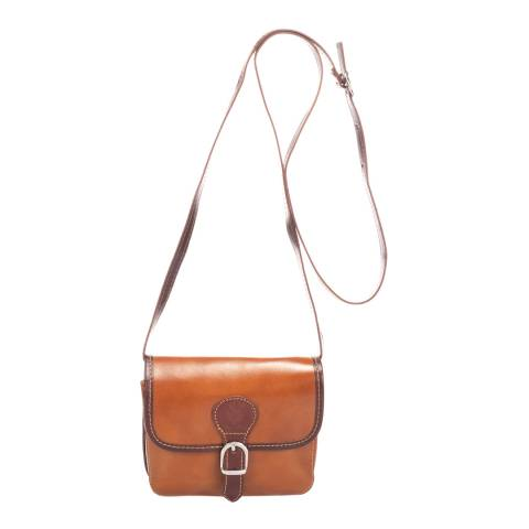 Massimo Castelli Cognac Leather Crossbody Bag