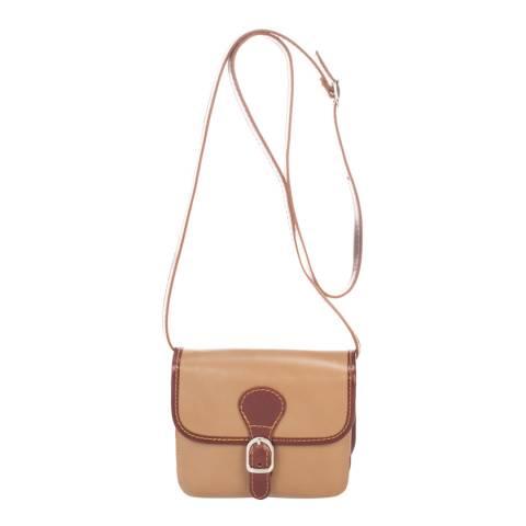 Massimo Castelli Taupe Leather Crossbody Bag