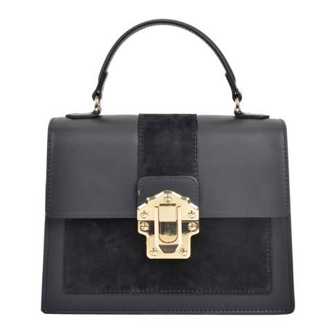 Isabella Rhea Black Leather Top Handle Bag