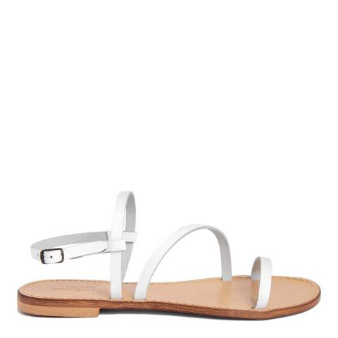 Summery White Leather Crossed Strap Flat Sandal