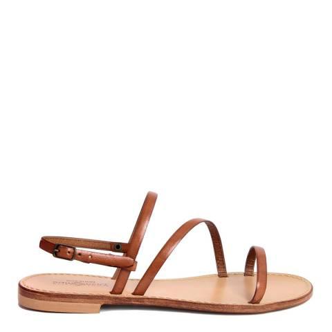 Summery Brown Leather Crossed Strap Flat Sandal