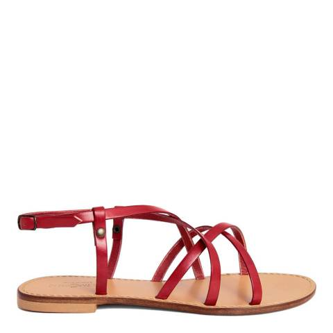 Summery Red Leather Flat Sandal