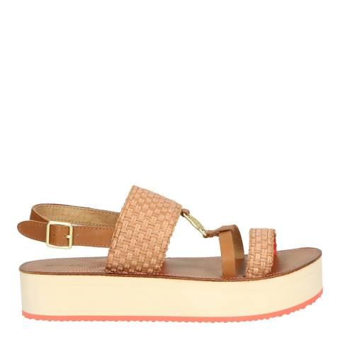 Gant Cognac/Coral Midville Platform Sandals