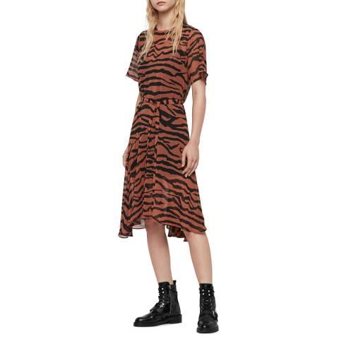AllSaints Brown Print Enki Zephyr Dress