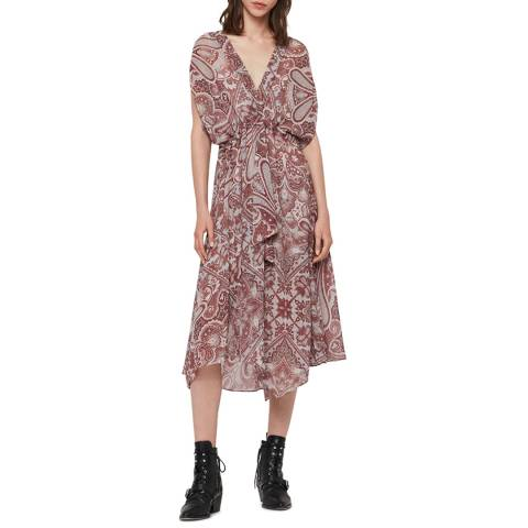AllSaints Red Romina Scarf Dress