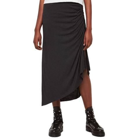 AllSaints Black Ruched Walla Skirt
