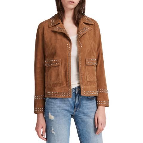 AllSaints Tan Suede Evans Studded Jacket