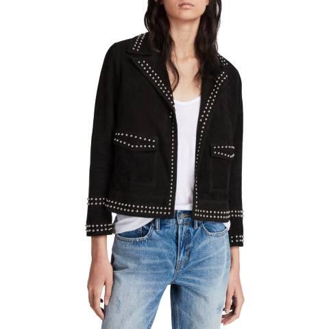 AllSaints Black Suede Evans Studded Jacket