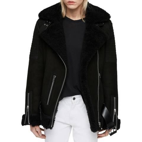 AllSaints Black Garrix Shearling Coat