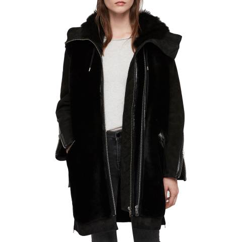 AllSaints Black Leather State Lux Parka Coat