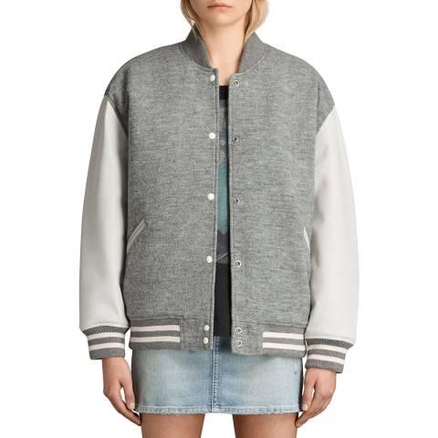 AllSaints Grey Leather Base Bomber Jacket