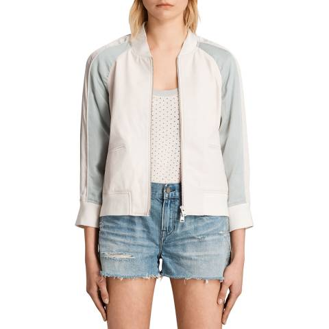 AllSaints White/Blue Leather Varley Bomber Jacket