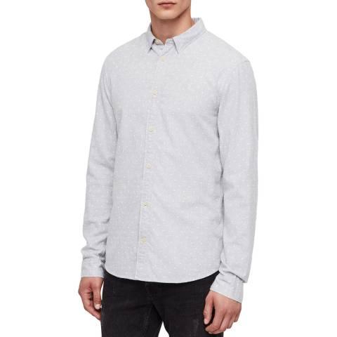 AllSaints Grey Bethel Dot Cotton Shirt