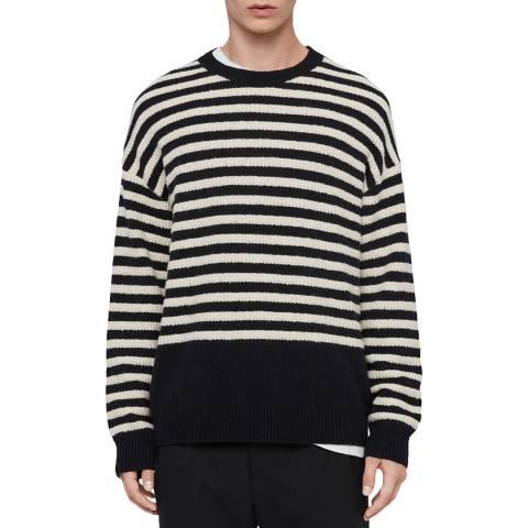 AllSaints Navy/Ecru Keet Wool Blend Jumper