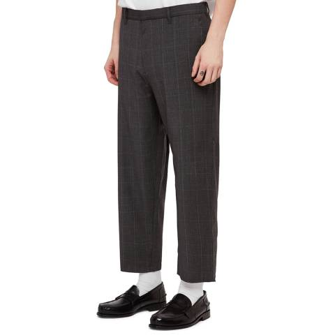 AllSaints Grey Check Ante Tapered Trousers