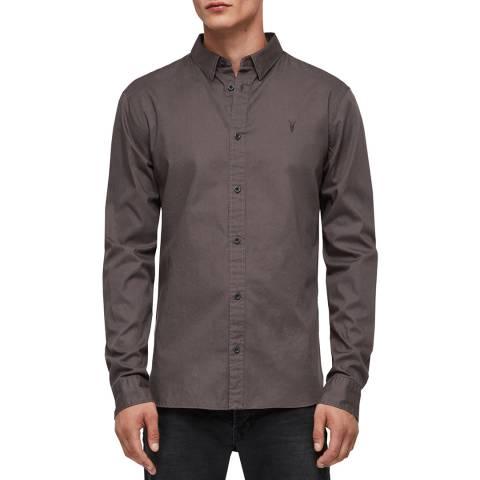 AllSaints Dark Grey Redondo Cotton Shirt