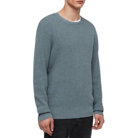 AllSaints Soft Blue Wells Cotton Jumper